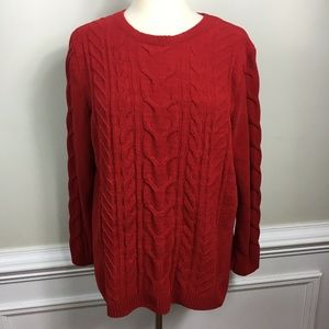 J. Jill Red Cable Knit Soft Chenille Sweater